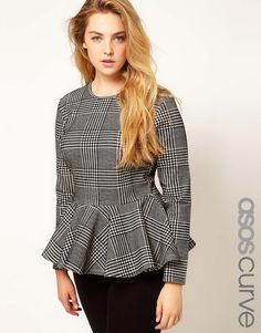 two fall trends in one. Love. Curve Houndstooth/Plaid Print Peplum Top. Business attire.