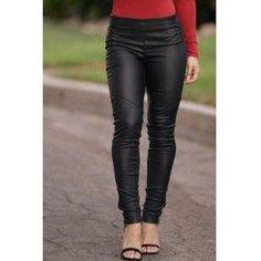 #trendsgal.com - #Trendsgal Elastic Waist Solid Color Zippered PU Pants - AdoreWe.com