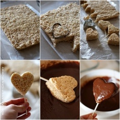 Chocolate covered Rice Krispy Treat Heart Pops: cute idea for valentines day or even a wedding!