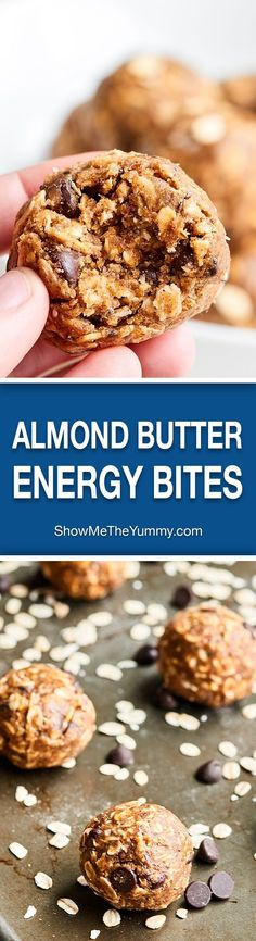 These Almond Butter Energy Bites are SO healthy and delish. They're nutty and rich from the almond butter, chewy from the oats, and sweet from the maple syrup and dark chocolate chips! http://showmetheyummy.com #almondbutter #energybites