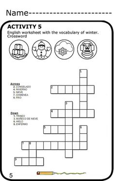 free spanish crossword puzzle w answer key from printable spanish. Black Bedroom Furniture Sets. Home Design Ideas