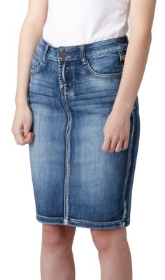 Knee-length Denim Skirt. Classic stonewash denim skirt. From ...