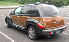 Chrysler PT Cruiser with woodgrain. I loved the look of these, but never bought one because Chrysler's reliability made me nervous. Adding it to a collection of other cars means I wouldn't have to drive it much.