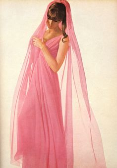 Horst photographs a diaphanous pink gown for American Vogue (March 1964)