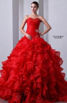 Buy hot organza ruffled red sweetheart quince dresses with brush train from  coral red quinceanera dresses collection d7da6b150eda