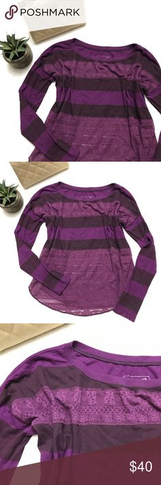 FREE PEOPLE Purple Lace Striped Tee Top FREE PEOPLE Purple Lace Striped Tee Top size small. Like new. Oversized boxy fit. Lace panels and long sleeves. Free People Tops Tees - Long Sleeve