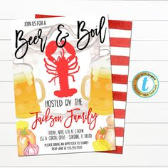 Beer and Boil Crawfish Party Invitation Perfect Party invite for your lobster boil or crawfish boil party! Works great for company events, birthday parties, graduation parties and more! All text is editable so make it read what you wish! ________________________________________________ FULL EDITING OPTIONS WITH TEMPLE Crawfish Party, Lobster Boil, Party Invitations, Invite, Birthday Parties, Graduation Parties, Text Color, Perfect Party, Trees To Plant
