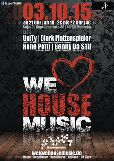 Facebook: https://www.facebook.com/events/916481585091052/  ☰ 03.10.15 ☰ Eintritt nur 2€ bis 22 Uhr danach 4€ ☰ ab 18 Jahren ☰  WE LOVE HOUSE MUSIC ♫♫ Dieses mal im schönen Monheim am Rhein!  Wir feiern mit euch die Liebe zur House Musik! House, Vocal House, Deep House, NuDisco, UK Garage... und das alles lokal in Monheim!  We Love House Music im Sojus 7 der Geheim Tipp in der Umgebung!