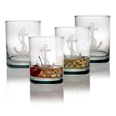 Anchor Double Old Fashioned Glasses ~ Set of 4 Beautifully engraved, this set of 4 Anchor Double Old Fashioned Glasses will be a stunning and elegant addition to your home bar, boat or a great gift fo