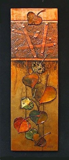 This unique shadow box presentation features copper, copper tacks, aluminum and watercolor paper leaves in a glass case.    It...