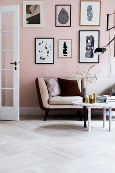 Dusty Pink Walls home decor mid century home decor painted walls colorful rooms pink wall ideas bright living spaces pastel wall color pink living room wall Pink Living Room, Decor, Decorating Your Home, Home And Living, Interior, Beautiful Interiors, Home Decor, House Interior, Room Decor