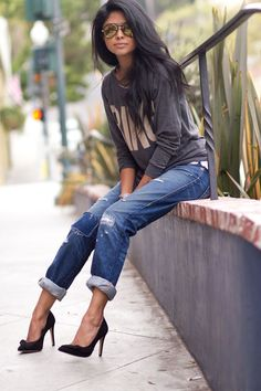 rolled up jeans