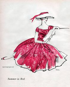 Illustration - Summer Red by Mollie Parnis, c.1956 - sketch by Erica