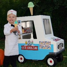 could maka a simple ice cream cart with a wagon. (put the candy for trick or treating in it.)