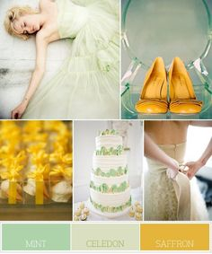 Colour palette: Mint, Celedon  Saffron ... wedding planning guide available in The Gold Wedding Planner iPhone App. www.aprofessional...