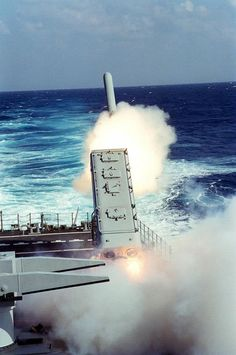 A BGM-109 Tomahawk Land-Attack Missile (TLAM) is launched toward a target in Iraq from the port side Mark 143 Armored Box Launcher (ABL) on the stern of the nuclear-powered guided missile cruiser USS MISSISSIPPI (CGN40) during Operation Desert Storm