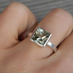 Prasiolite and sterling silver solitaire