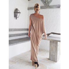 Taupe Maxi Dress Taupe Kaftan Asymmetric Plus Size Dress Oversize Loose Dress 35024