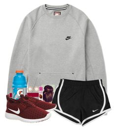 """""""After running routine in d"""" by fashionpassion2002 ❤ liked on Polyvore featuring NIKE, Forever 21, women's clothing, women's fashion, women, female, woman, misses and juniors"""