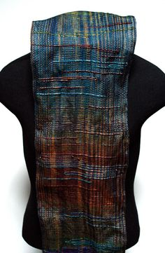 Saori Inspired Jewel Tone Scarf by eacrisman on Etsy