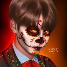 🍃💛Te invito a visitar mi mundo mágico, donde podrás ver algunas de … #detodo # De Todo #amreading #books #wattpad #edit by Markjin7A #dibujo #diadelosmuertos #bts #jungkook #jeonjungkook #drawing #calavera #mexico #red #rojo #maquillaje #kookie #hallowen Jungkook Fanart, Jungkook Cute, Foto Jungkook, Foto Bts, Bts Bangtan Boy, Bts Halloween, Halloween Icons, Angels And Demons, Graphic Design Posters