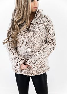 If you made it through this past season without jumping onto the sherpa train, now is the time to board....Brown Bear Pullover, JessaKae, New Arrival, Cozy, Comfy, Soft, Zip, Long Sleeve, Warm, Womens Fashion, Womens Style, Fluffy, Blonde, Jacket, Winter Fashion, Winter, Style