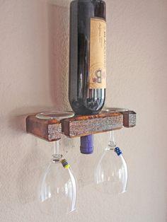 Wall Wine Rack 1 Bottle 2 Glasses Handmade by AdliteCreations