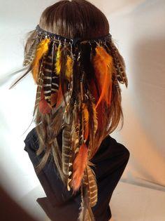 Headband Hatband Feathers Tribal Hippie by BeadazzledBySharon, $60.00