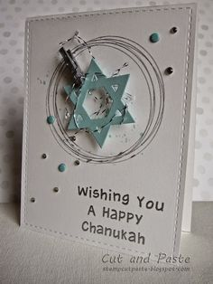 Cut and Paste (Goldie) --LOVE that she did the circles with a metallic pen and the circle framelits~! Hanukkah Diy, Hanukkah Lights, Happy Hannukah, Hanukkah Cards, Christmas Cards To Make, Xmas Cards, Holiday Cards, Paper Cards, Diy Cards