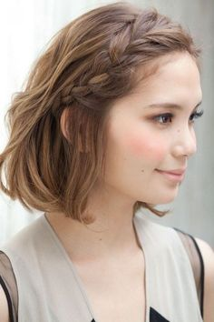 Coiffure : 10 Braided Hairstyles for Short Hair – PoPular Haircuts Cool Hairstyles For Girls, Pretty Hairstyles, Hairstyle Ideas, Wedding Hairstyles, Bob Hairstyles, French Hairstyles, Curly Haircuts, Elegant Hairstyles, Hairstyles For Pictures