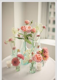 pink floral arrangements in glass bottles, DIY wedding planner with ideas and tips including DIY wedding decor and flowers. Everything a DIY bride needs to have a fabulous wedding on a budget! Deco Champetre, Loft Wedding, Trendy Wedding, Wedding Reception, Chic Wedding, Floral Wedding, Wedding Favors, Wedding Catering, Wedding Invitations