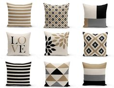 Throw Pillow Cover designs in Beige, Grey, Black, and Taupe. Individually cut and sewn, features a 2 sided print and is finished with a zipper for ease of care. SIZES: 16in. X 16in. 18in. X 18in. 20in. X 20in. 26in. X 26in. (euro) 14in. X 20in. (lumbar) IMPORTANT: These are COVERS