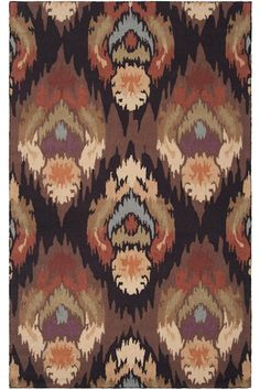A hand-hooked rug with a bold ikat design. #HDCrugs HomeDecorators.com