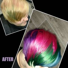 Short multicolored hair. Purples, greens, blues, and pinks! We'll say it over and over again, Life's too short to be boring! Be #bold, be #brave, be #beautiful. We all have our own version of beauty, and right now this is ours! Fun dramatic color and cut by stylist: Christine. Call 734-464-8686 for appointments. #beauty #fashioncolor #hair #livoniastylist #michiganstylist #detroitstylist #novistylist #detroithair  #wella #haircolor #haircut #behindthechair
