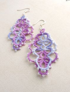 Delicate and elegant layered lace earrings, hand-crafted in Waterford, Ireland. These beautiful earrings feature a delicate and eye catching design Lace Earrings, Lace Jewelry, Crochet Earrings, Jewellery, Unique Jewelry, Waterford Ireland, Beautiful Earrings, Lilac, Glass Beads