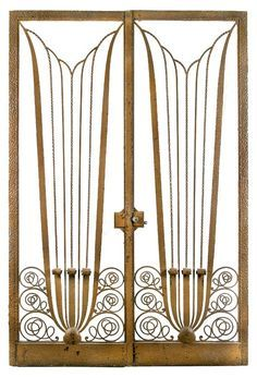 Art deco glass door there appears to be a lot of white space so pair of art deco wrought iron salon doors unknown designer french 1925 sciox Images