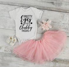 Pretty eyes and chubby thighs - funny baby onesie - funny baby - funny onesie - funny girl onesie - funny boy onesie - baby shower gift by ShowerTimeBabyWear on Etsy