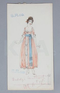 A Lucile studio sketch for the Sears Roebuck 1917 mail-order catalogue 'Daddy's Sweetheart' dated 1916