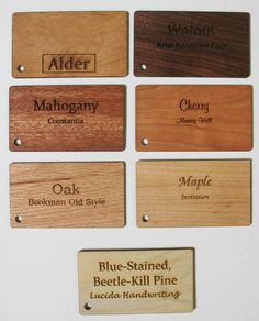 Our 7 available wood species for and Fort Collins, Save The Date Cards, Wood Species, Bamboo Cutting Board, Beetle, Dates, Invitations, How To Make, June Bug