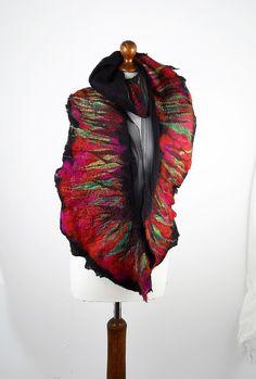 Felted Scarf  Nunofelt Scarf Ruby Scarf Burgundy Scarves Felt Nunofelt Nuno felt Silk Silkyfelted Eco shawl Boho Fiber Art