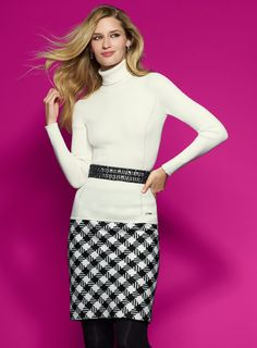 classic black and white winter outfit - High contrast. #wearwhatworks #whbm #winter
