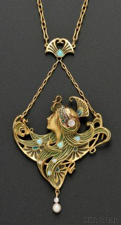 Art Nouveau 18kt Gold and Plique-a-Jour Enamel Gem-set Pendant, L. Gautrait, France. Designed as a maiden with plique-a-jour enamel tresses wearing a diamond and rose-cut diamond diadem, opal accents, diamond and pearl drop, and suspended from fancy link chain