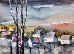 Aftenstemning Watercolor Landscape, Watercolor Paintings, Painting Process, Pictures To Paint, Vibrant Colors, Nature, Art, Watercolor Painting, Colors