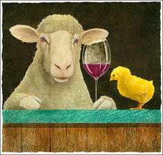 """""""Sheep-faced on wine with some chick..."""" watercolor by Will Bullas"""