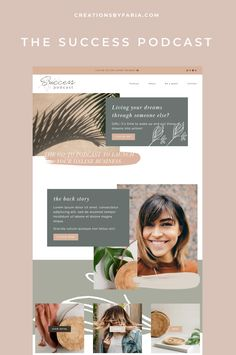 Squarespace website design: The Success Podcast — Creations by Faria - I love the warm and earthy tones used in this design! I had so much fun experimenting with colors, - Website Design Inspiration, Website Design Layout, Blog Layout, Web Layout, Layout Design, Website Designs, Wedding Website Design, Great Website Design, Wordpress Website Design
