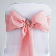 Rose Quartz Polyester Sash | eFavorMart /  Plan as many events as you want and invite as many guest as you desire without even worrying about the expenses and your budget. With our sturdy and economical polyester chair sashes, you can now transform any dining experience into a magnificent feast with an upscale feel and an elite look without breaking the banks. Get inspired by our premium quality polyester chair sashes that open the gates of creativity and ingenuity. With such a high standard…