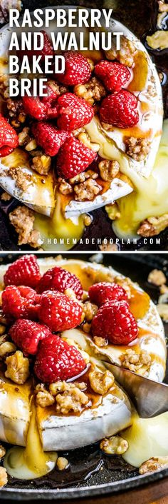 Raspberry and Walnut Baked Brie! An easy baked brie recipe that's topped with brown sugar, candied walnuts, and raspberries soaked in a honey balsamic sauce.   HomemadeHooplah.com