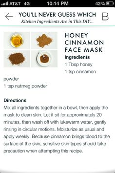 Beauty rescue--Honey cinnamon face mask=anti-inflammatory for sudden breakouts!