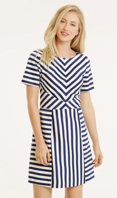 Oasis Occasion Dress UK 12 Chloe Satin Blue & White Tailored Spring Holiday New Occasion Dresses Uk, Stripped Dress, Latest T Shirt, Look Chic, Stripes Design, Satin Dresses, I Dress, Fashion Dresses, Short Sleeve Dresses