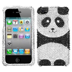 Bling Bling Diamante Case and Screen Protector for iPhone 4 / 4S (Playful Panda)